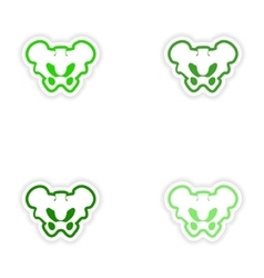 Set paper stickers on white background pelvic vector