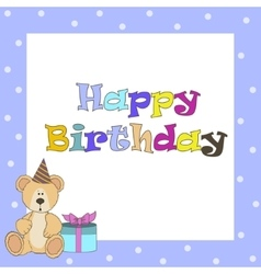 Card withblue teddy bear for boy vector