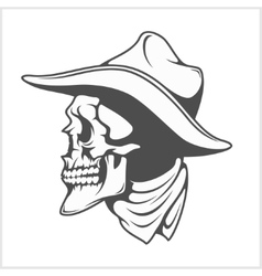Skull in cowboy hat - gangster vector