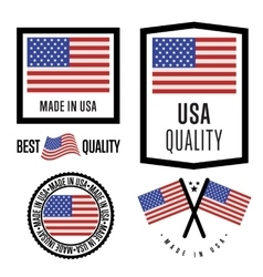 Made in usa label set national flag vector