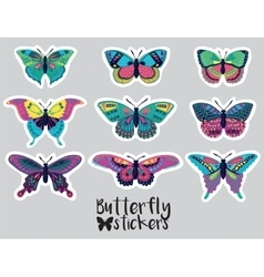 Sticker set of butterflies decorative silhouettes vector image