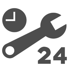 Nonstop service hours flat icon vector