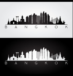 Bangkok skyline and landmarks silhouette vector