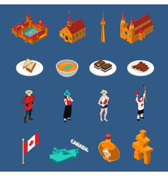 Canada touristic icons set vector
