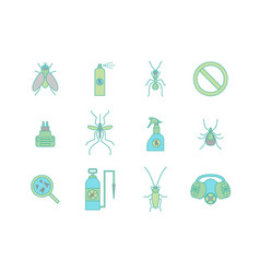 Cartoon color no insects set vector