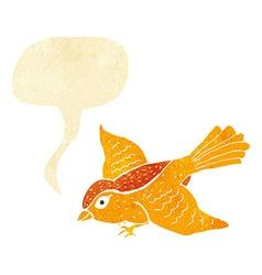 cartoon flying bird with speech bubble vector image vector image
