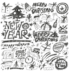 Christmas holidays New Year - doodles set vector image vector image