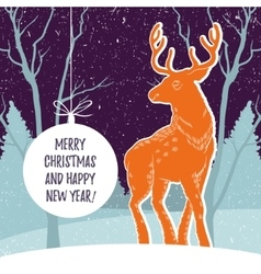 Christmas with reindeer and snowy vector image