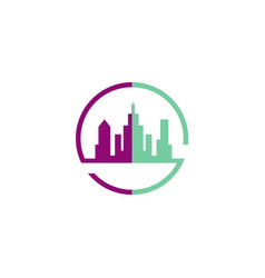 cityscape town building logo vector image vector image