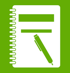 closed spiral notebook and pen icon green vector image