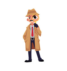 comic style detective character looking through vector image