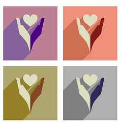 concept of flat icons with long shadow heart hands vector image