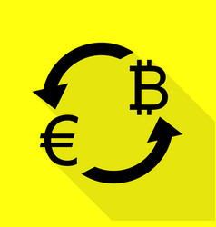 Currency exchange sign euro and bitkoin black vector