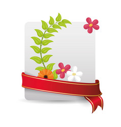 Cute card spring flowers and wrapped ribbon vector