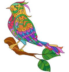 fantasy bird hand drawn doodle adult antistress vector image vector image