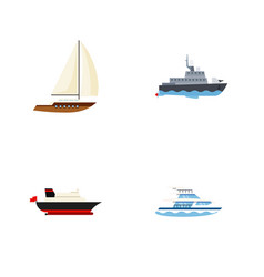 flat icon vessel set of cargo boat yacht and vector image vector image