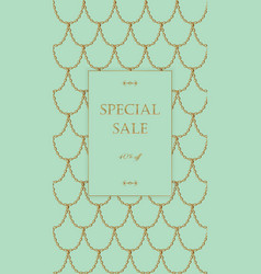 golden chain sale banner template light turquoise vector image vector image