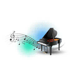 grand piano with music notes in background vector image vector image
