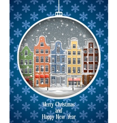 Greeting card with winter town vector