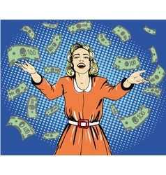 Happy woman throw money in vector image
