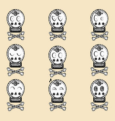 Helloween skull with ornament day of the dead vector