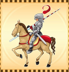 Knight and Horse with Background vector image