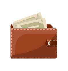 Leather wallet with snap isolated icon vector