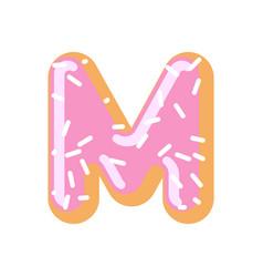 letter m donut font doughnut alphabet sweet vector image