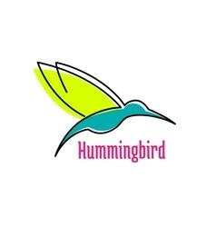 Little hummingbird bird abstract icon vector