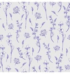 Monochrome wildflowers seamless pattern vector