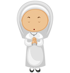 Nun in white outfit praying vector