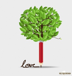 Pencil with leaf vector image