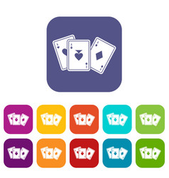 Playing cards icons set vector