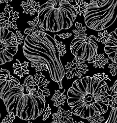 Seamless chalk pumpkin pattern vector