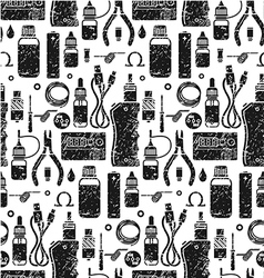 Seamless pattern of vape and accessories vector