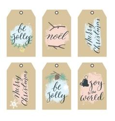 Set of christmas gift tags with hand writting vector