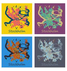 Set of flat color map of stockholm sweden all vector