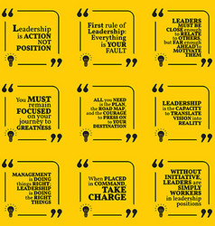 Set of motivational quotes about leadership action vector