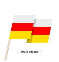 South ossetia ribbon waving flag isolated on white vector