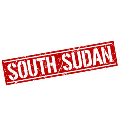 south sudan red square stamp vector image vector image