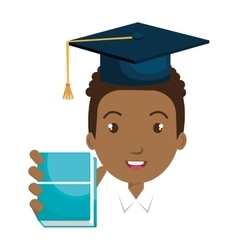 student character with hat graduation and book vector image