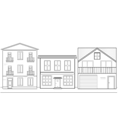 Three houses of different heights vector