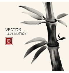 Traditional sumi-e background with bamboo vector image