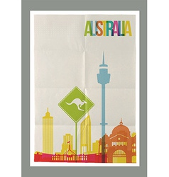 Travel Australia landmarks skyline vintage poster vector image vector image