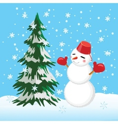Tree and snowman winter Template for the cards vector image vector image