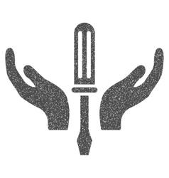Tuning screwdriver maintenance grainy texture icon vector
