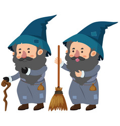 Two wizards with cane and magic broom vector