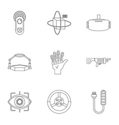 Vr game equipment icons set outline style vector