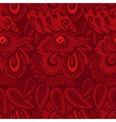 Red pattern with rooster vector