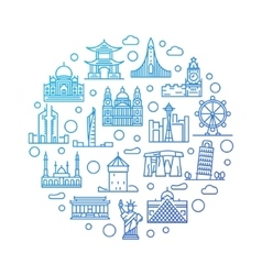 World landmarks colorful vector image
